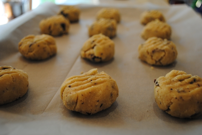 Unbaked chocolate chip cookies