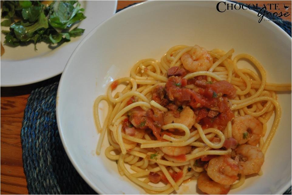 Chilli Bacon and Prawn Spaghetti