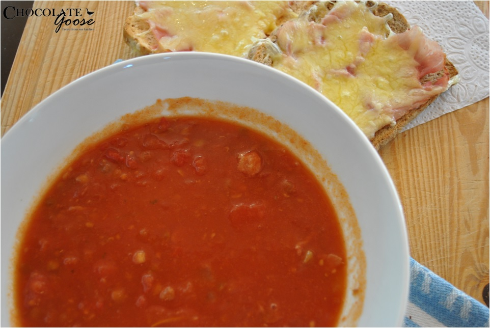 Bacon, Lentil and Tomato Soup with Toasted Ham and Cheese