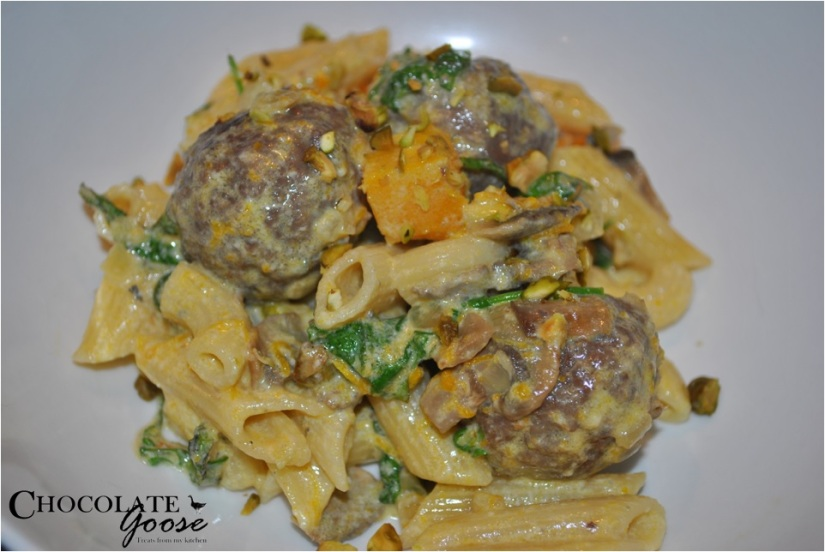 Pumpkin and Blue Cheese Penne with Meatballs