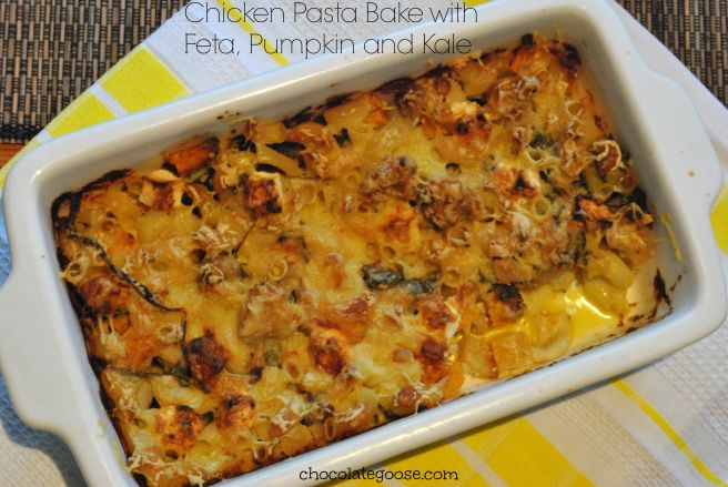 Chicken Pasta Bake with Feta, Pumpkin and Kale